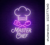 master chef neon sign  bright... | Shutterstock .eps vector #1023777640