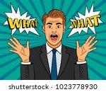 pop art frightened man. scared... | Shutterstock .eps vector #1023778930