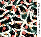 seamless pattern of flowers and ... | Shutterstock .eps vector #1023781243