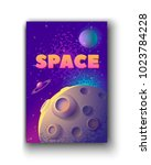 moon and space words. vector... | Shutterstock .eps vector #1023784228