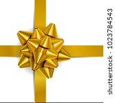 vector illustration. gold bow... | Shutterstock .eps vector #1023784543