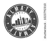 almaty kazakhstan round stamp... | Shutterstock .eps vector #1023792310