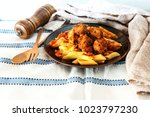 tasty penne with meat ball and... | Shutterstock . vector #1023797230
