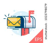 mail box with an envelope.... | Shutterstock .eps vector #1023798079