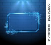 shining blue neon light frame... | Shutterstock .eps vector #1023802000