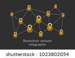 blockchain network technology... | Shutterstock .eps vector #1023802054
