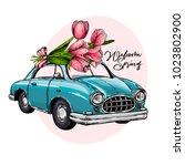 easter car. retro automobile... | Shutterstock .eps vector #1023802900