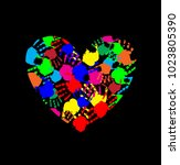 rainbow heart icon made of... | Shutterstock . vector #1023805390
