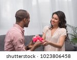 african american boyfriend... | Shutterstock . vector #1023806458