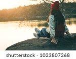 female tourists in beautiful... | Shutterstock . vector #1023807268
