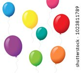 balloons set isolated on white... | Shutterstock .eps vector #1023811789