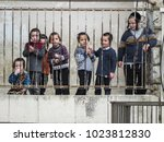 Small photo of Jerusalem, Israel - December 31, 2017: orthodox Jewish boys in the School in the typical arthodox area in Jerusalem