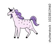 magical purple unicorn hand... | Shutterstock .eps vector #1023813460