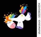 unicorn with rainbow mane on... | Shutterstock .eps vector #1023814354