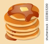 fresh tasty hot pancakes with... | Shutterstock .eps vector #1023815200