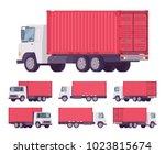 euro truck  metal container.... | Shutterstock .eps vector #1023815674