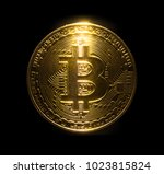 gold bitcoin physical isolated... | Shutterstock . vector #1023815824