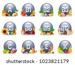 mineral vitamin multi... | Shutterstock .eps vector #1023821179
