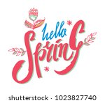 hellow spring text lettering.... | Shutterstock .eps vector #1023827740