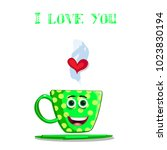i love you greeting card with... | Shutterstock .eps vector #1023830194