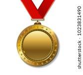 realistic 3d gold trophy... | Shutterstock .eps vector #1023831490