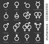 gender icons set on dark... | Shutterstock .eps vector #1023833503