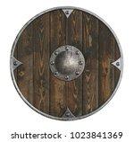 old wooden vikings' shield... | Shutterstock . vector #1023841369