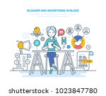 blogger and advertising in... | Shutterstock .eps vector #1023847780