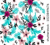 contemporary floral seamless... | Shutterstock .eps vector #1023849676
