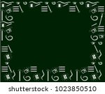 template with chalkboard doodles | Shutterstock .eps vector #1023850510