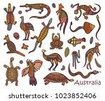 animals of australia. sketches... | Shutterstock .eps vector #1023852406