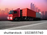 transportation  import export... | Shutterstock . vector #1023855760