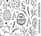 seamless easter pattern with...   Shutterstock .eps vector #1023858376