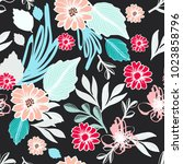 ethnic floral seamless pattern... | Shutterstock .eps vector #1023858796
