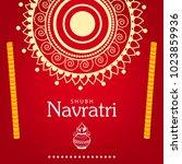 navratri hindu festival design  ... | Shutterstock .eps vector #1023859936