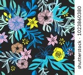 doodle floral seamless pattern... | Shutterstock .eps vector #1023860380