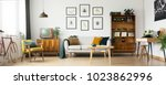 retro living room design with... | Shutterstock . vector #1023862996