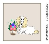 dog and flower card. fashion... | Shutterstock .eps vector #1023863689