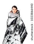 pose of an upset hiker woman... | Shutterstock . vector #1023866440