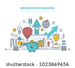 implementation of innovations.... | Shutterstock .eps vector #1023869656