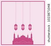 pink ramadan kareem greeting... | Shutterstock .eps vector #1023871048