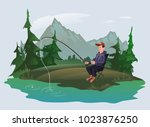 fisherman with a fishing rod...   Shutterstock .eps vector #1023876250