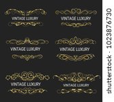gold decorative frame.vintage... | Shutterstock .eps vector #1023876730