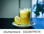 a glass of traditional drink... | Shutterstock . vector #1023879574