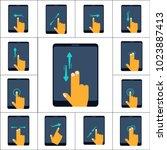 multitouch tablet screen hand... | Shutterstock .eps vector #1023887413