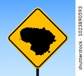 lithuania map road sign. square ... | Shutterstock .eps vector #1023890593