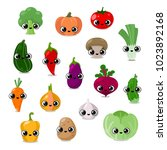 funny vegetables faces set ... | Shutterstock .eps vector #1023892168