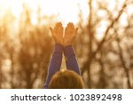 girl with hands in the air... | Shutterstock . vector #1023892498
