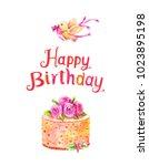 watercolor romantic postcard... | Shutterstock . vector #1023895198
