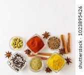 spice set coriander  red pepper ... | Shutterstock . vector #1023895426